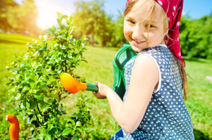 Little Girl Gardening for Earth Day