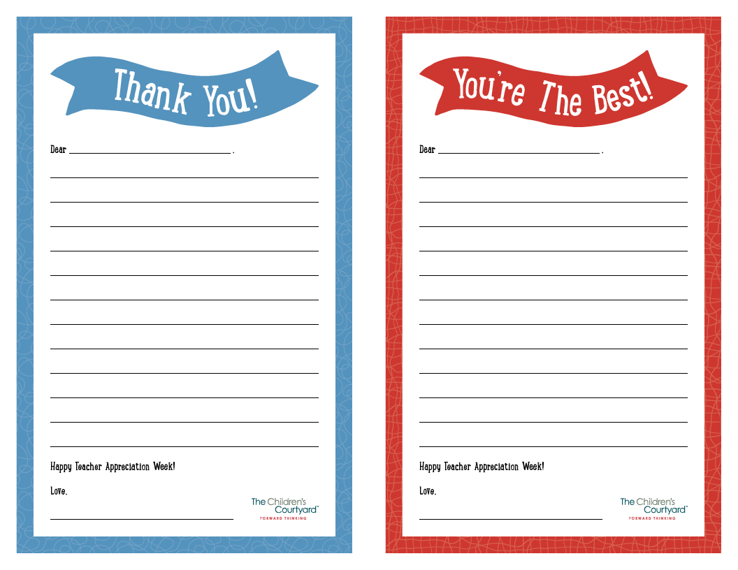 teacher appreciation week printable thank you notes the