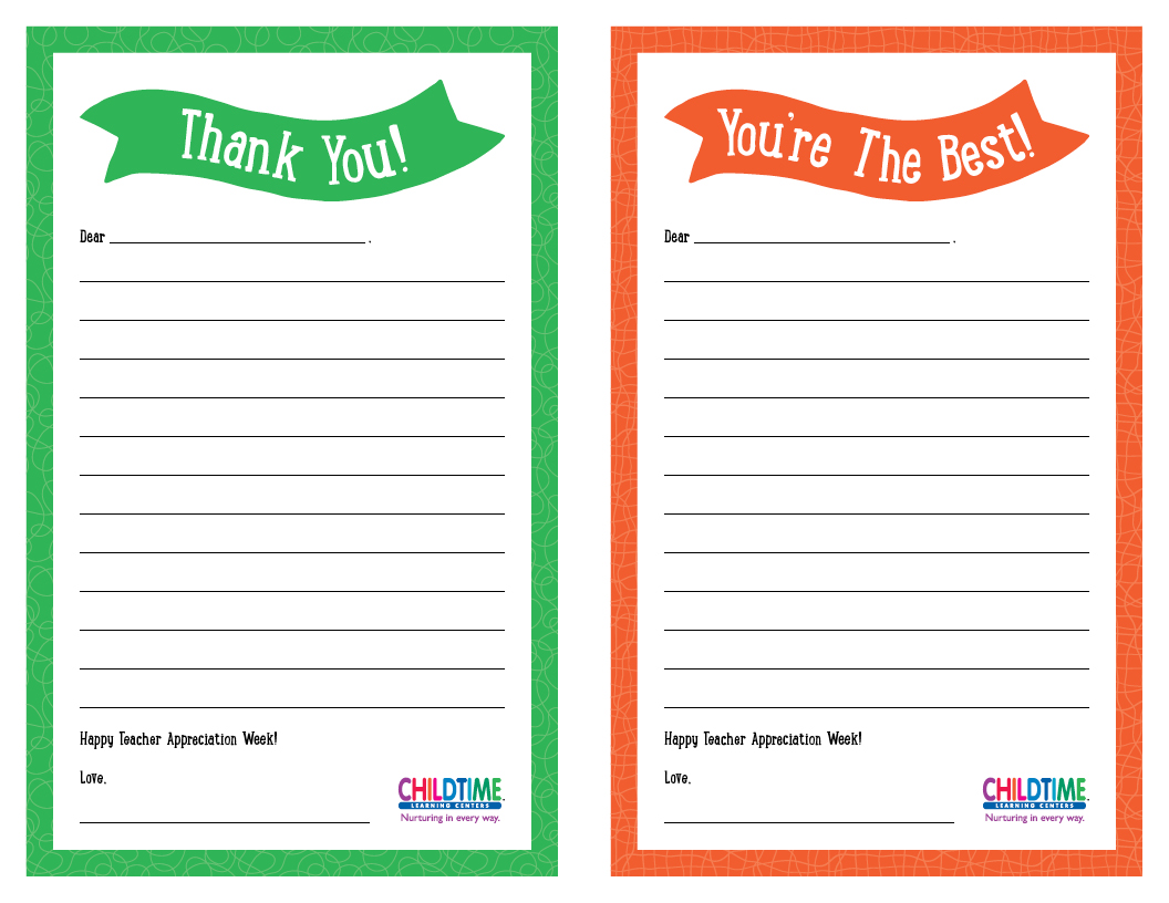 Thank You Notes for Teacher Appreciation Week