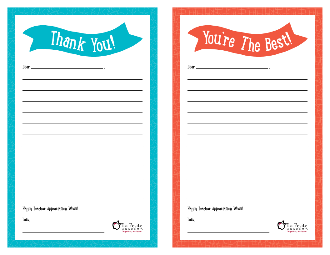 teacher appreciation week free printable thank you notes lapetite academy. Black Bedroom Furniture Sets. Home Design Ideas