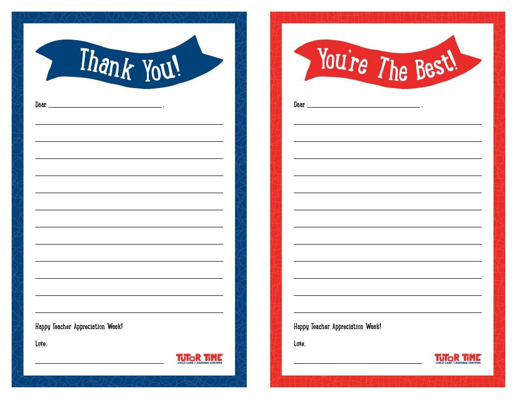 graphic regarding Thank You Notes Printable referred to as Printable \u201cThank By yourself\u201d Notes for Instructor Appreciation 7 days